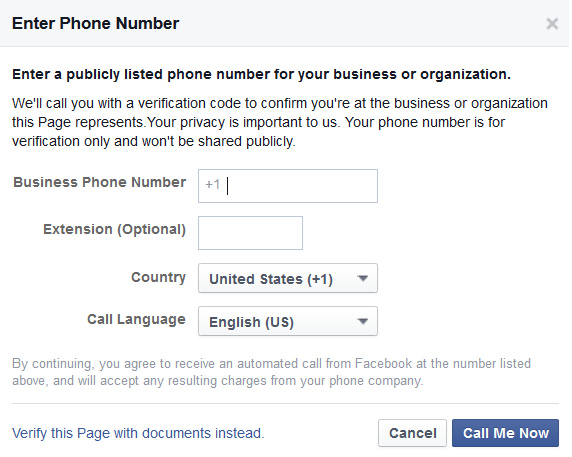 Facebook Phone Number Verification